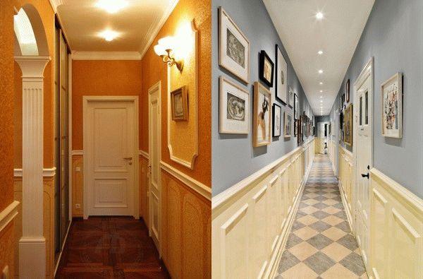 Комбинация обоев методом горизонтального деления стен как нельзя лучше подойдет для узких коридоров