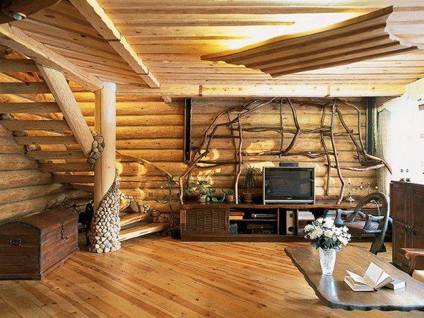 В деревянном доме лучше всего будет смотреться пол из дерева или его имитации