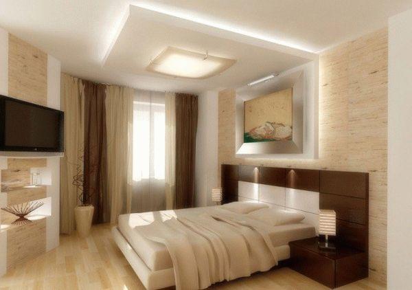 Необычное и достаточно интересное решение для спальни, когда часть стены плавно перетекает в потолок