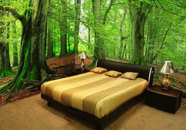 Фотообои в спальне зрительно расширяют пространство