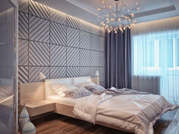 В настоящее время дизайнеры активно применяют 3D панели для отделки спальни