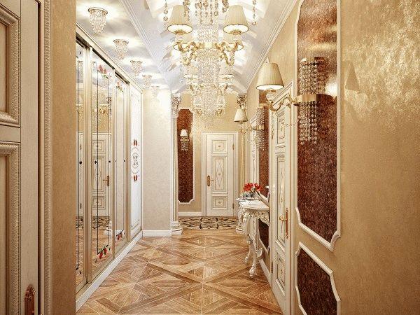 Дизайнерская отделка коридора создает приятное впечатление о всем доме
