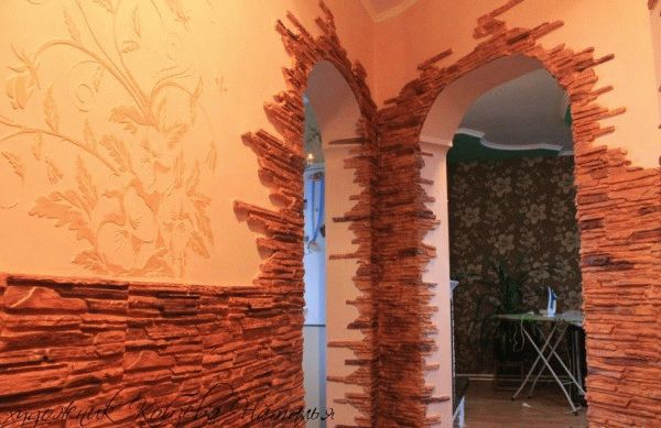Отделка арки декоративным камнем (фото, видео)