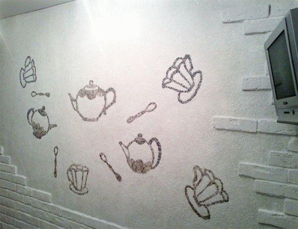 На кухне можно создать тематический рисунок, который будет способствовать аппетиту