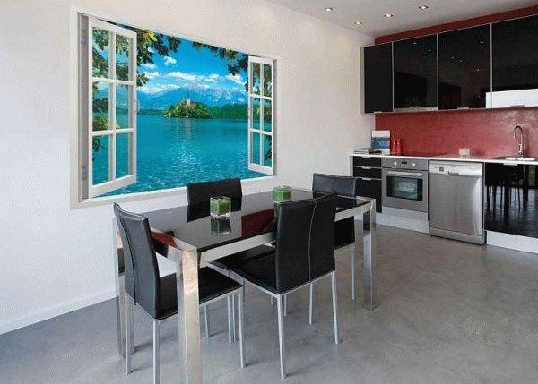 Фотообои окно на кухне
