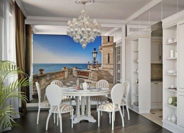 Фотообои с изображением морских пейзажев часто применяются для визуального увеличения кухонного пространства