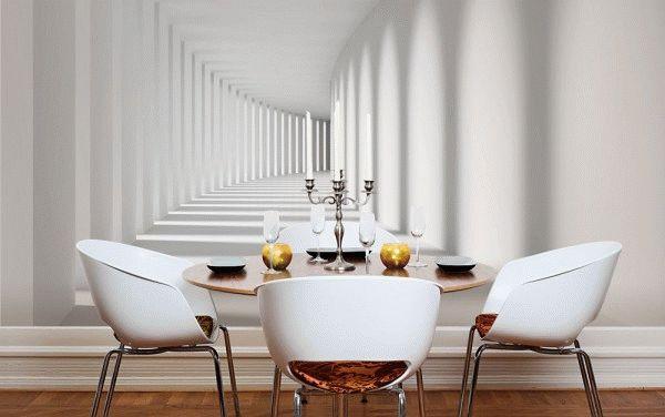 Маленькую кухню сделает визуально больше изображение коридора