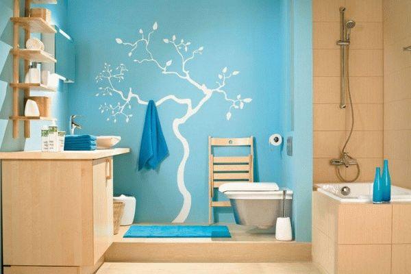 При помощи водоэмульсионных красок можно создать художественное оформление ванной комнаты