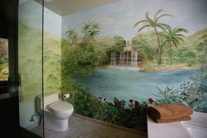 Оклейка стен фотообоями с большими изображениями не желательна в очень маленьких туалетных комнатах, картинка будет теряться при просмотре на близком расстоянии