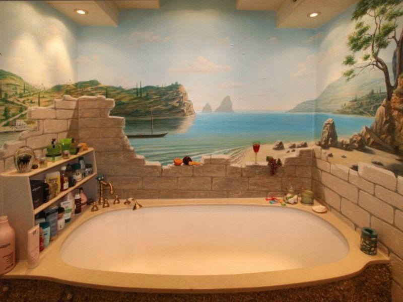 При наличии творческих способностей, можно недорого и оригинально оформить ванную комнату