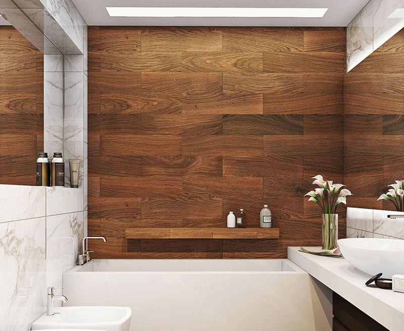 Отделка стен ванной линолеумом встречается крайне редко, но является отличным вариантом для тех, кто хочет выделиться и уйти от стереотипов
