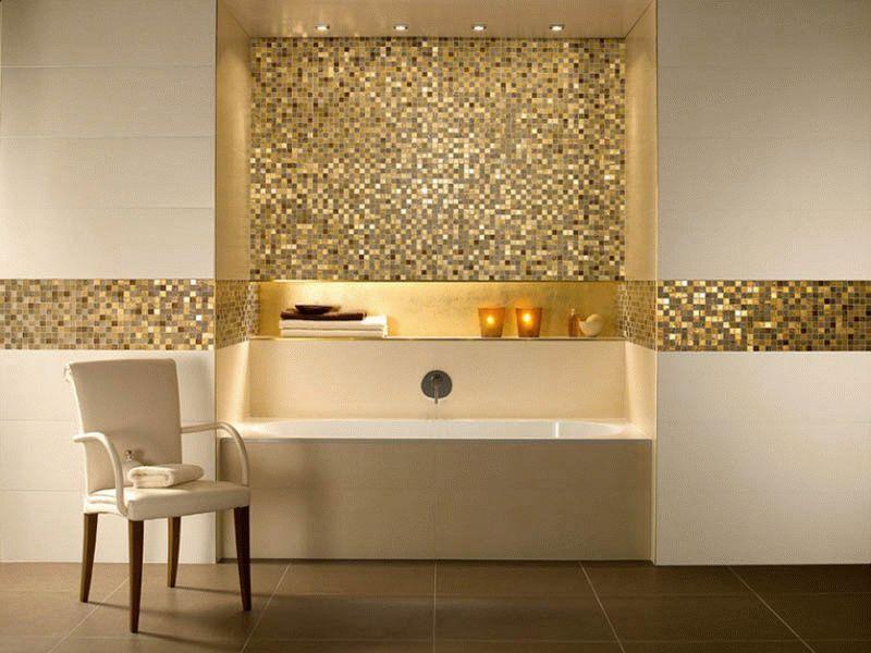 Акцентное применение мозаики в ванной