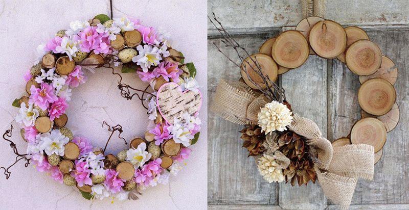 Венки из деревянных спилов и цветов