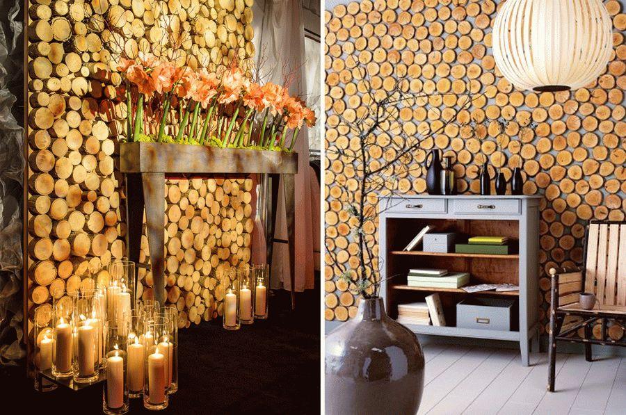 Декоративное оформление стен спилами дерева