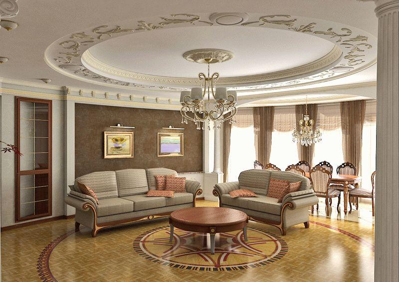 Многоуровневый потолок из гипсокартона, оформленный лепным декором