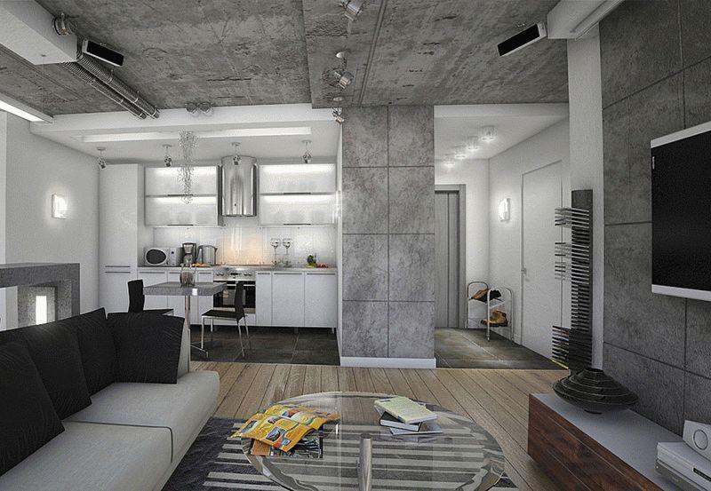Декоративная штукатурка под бетон как нельзя лучше подчеркнет индустриальные черты стиля лофт