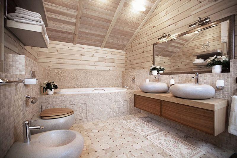 Древесная отделка потолка в ванной комнате