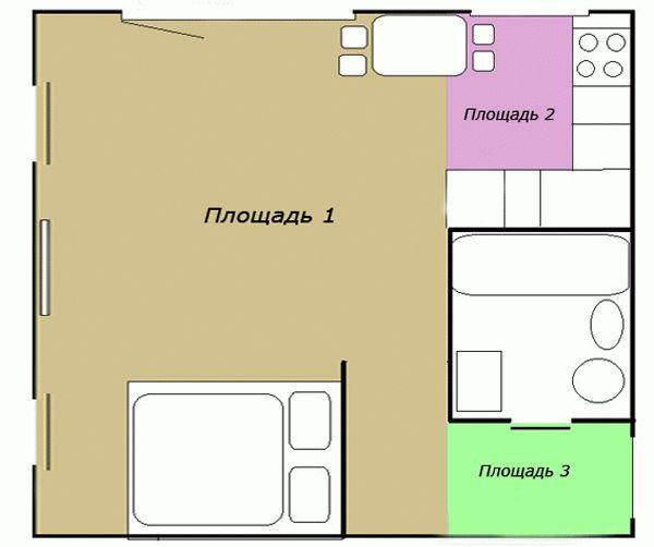 Расчет комнаты с нишами и выступами