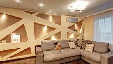 Дизайн стен в гостиной