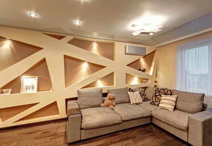 Декоративная отделка стен с помощью гипсокартона