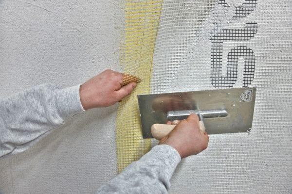 Крепление стекловолоконной сетки
