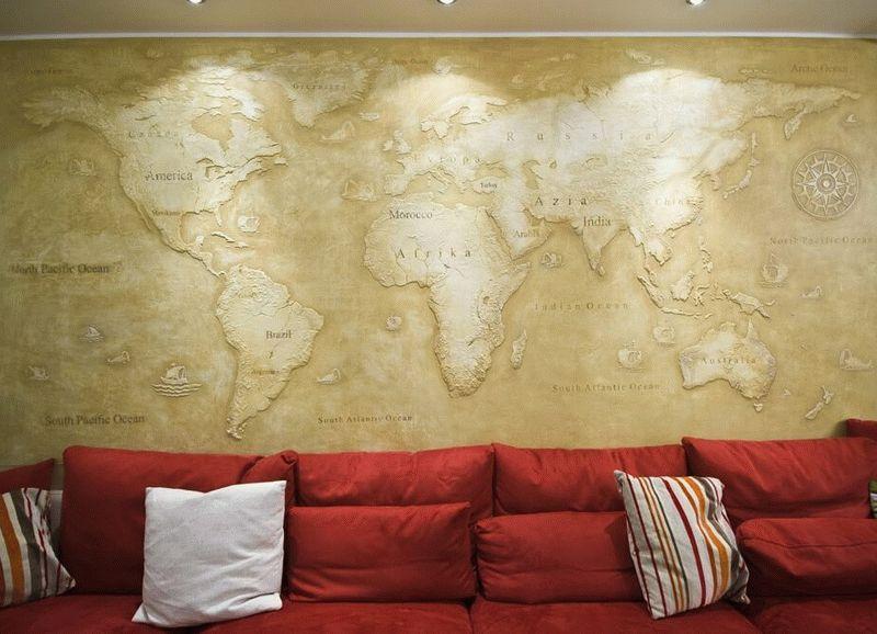 Рельефная карта будет полезным и оригинальным декором комнаты подростка