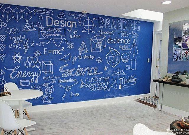 Эффект школьной доски в квартире с помощью грифельной краски