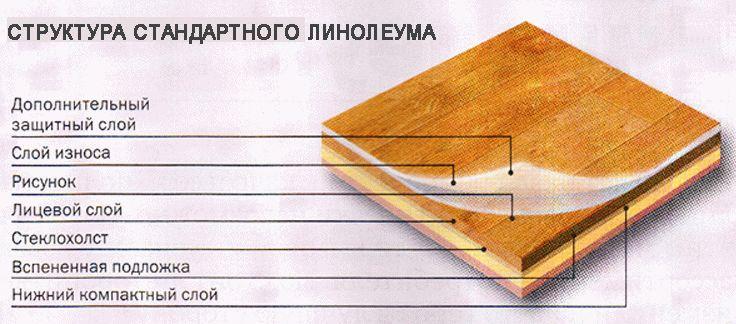 Линолеум состоит из нескольких слоев, где защитный - оберегает материал от быстрого износа и делит его на классы