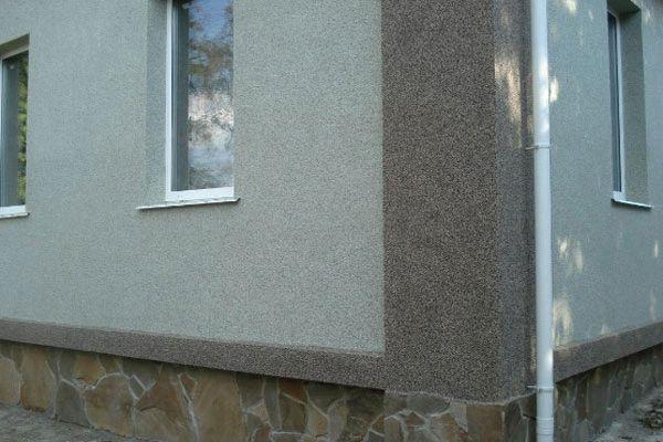 Фасадные работы мраморной штукатуркой