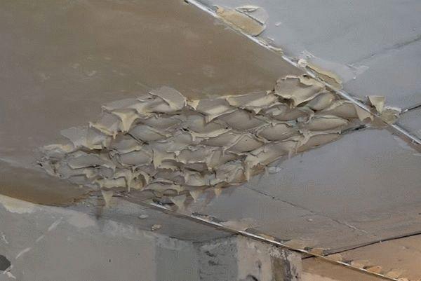 Накидывание штукатурки на потолок