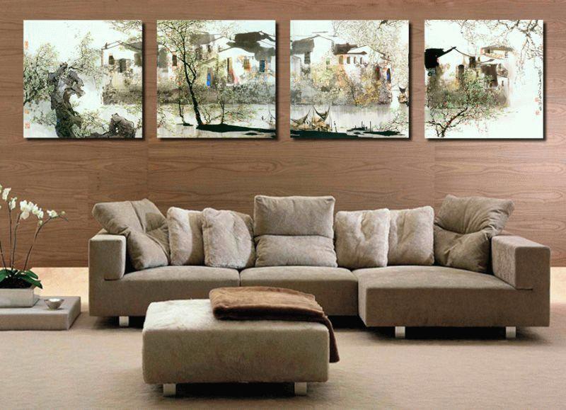 Горизонтально ориентированные картины визуально расширяют стены