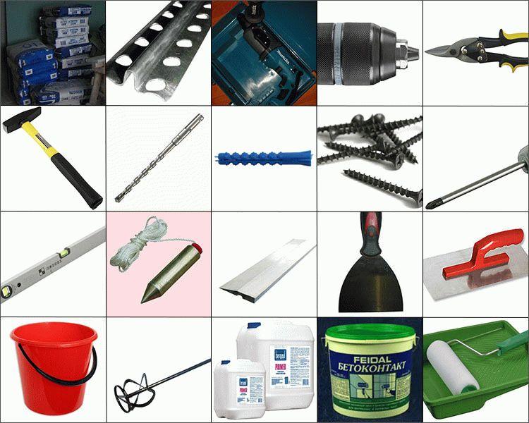 Расходные материалы и инструменты для нанесения штукатурки