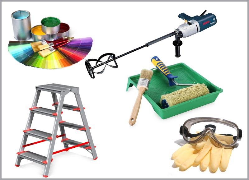 Инструменты и материалы, необходимые для покраски фасада