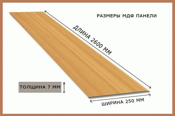 Размер МДФ панели