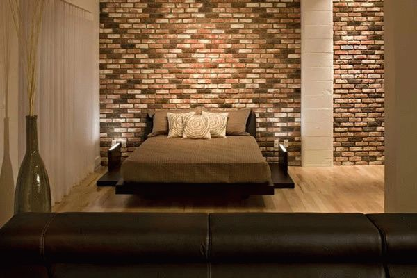 Оформление спальни декоративным кирпичом