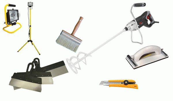 Полный набор инструмента, необходимый для проведения штукатурных работ по пенопласту
