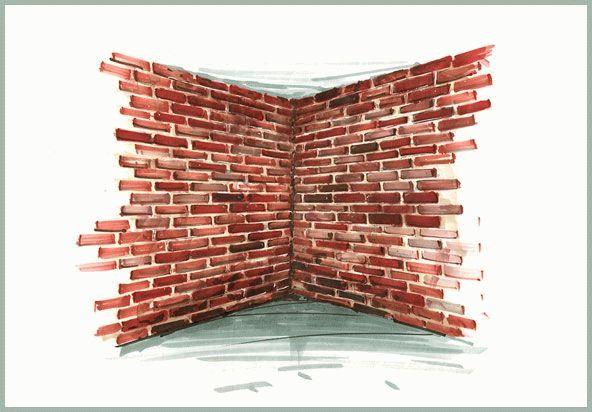 Перед созданием кирпичной стены желательносделать рисунок будущей кладки