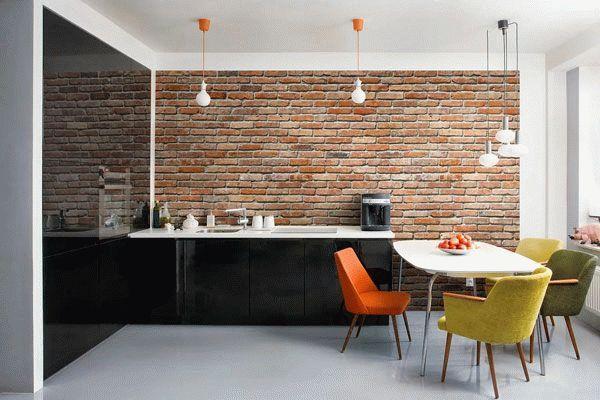 Декоративной кирпич на кухне