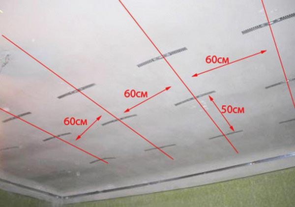 Чтобы узнать необходимое количество профилей и подвесов, нужно начертить план, где указать расстояние между элементами конструкции, после чего сделать расчет