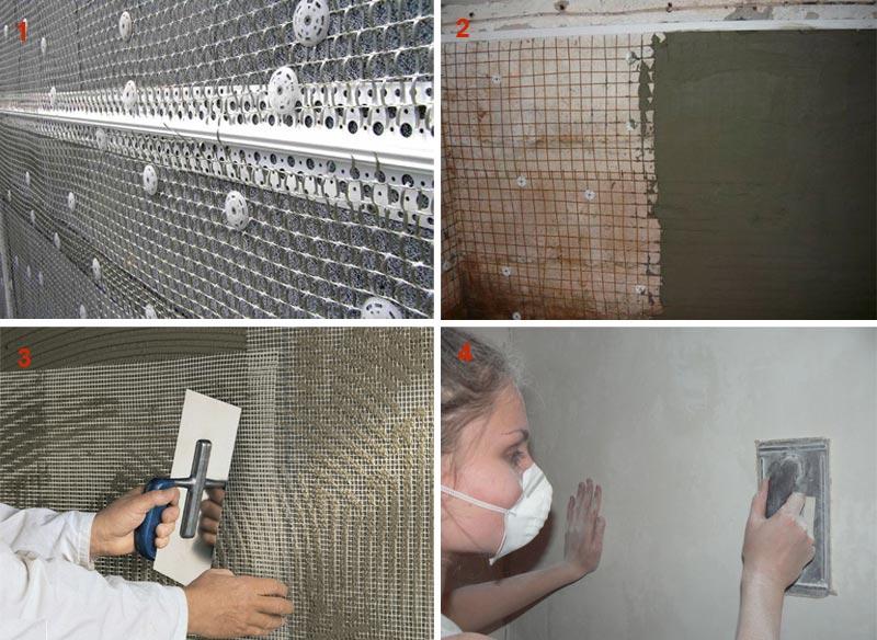 Оштукатуривание стены с применением армирующей сетки