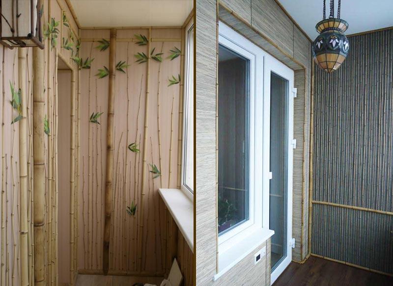 Отделка балкона с помощью стеблей бамбука