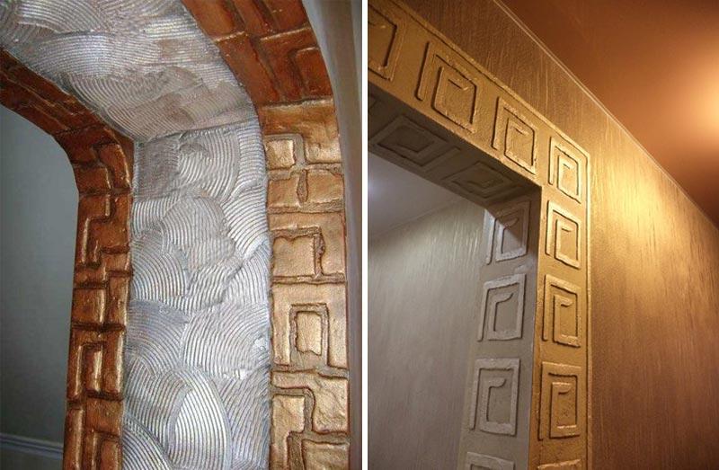 Декоративная штукатурка - эффектный вариант оформления дверного проема без двери