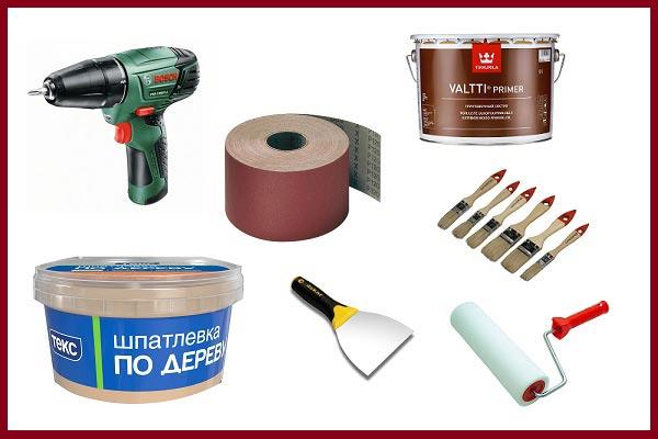 Инструменты для покраски двери