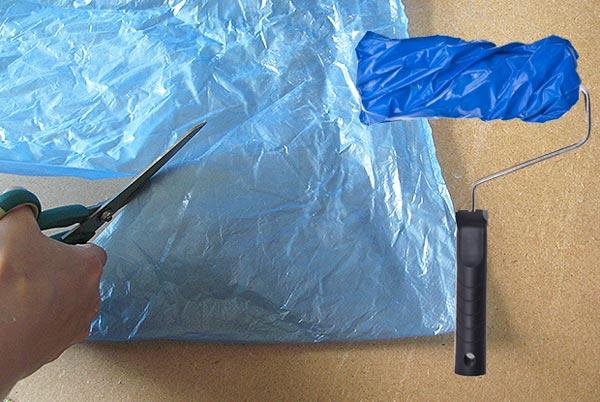Создание валика для декоративной окраски с помощью полиэтиленового пакета
