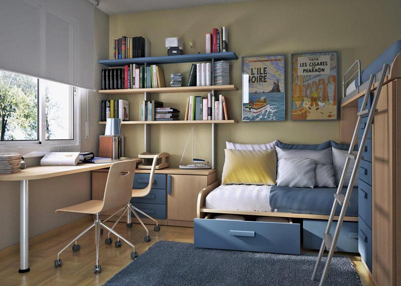 Если комната подростка не отличается большой площадью, для ее отделки лучше использовать светлые однотонные обои
