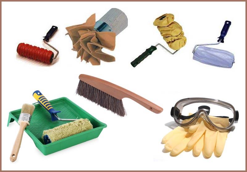 Инструменты и приспособления, которые могут понадобиться для декоративной окраски стен