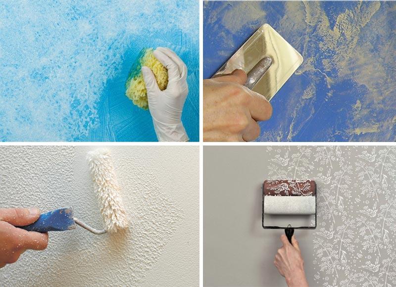 Декоративная покраска с помощью различных инструментов