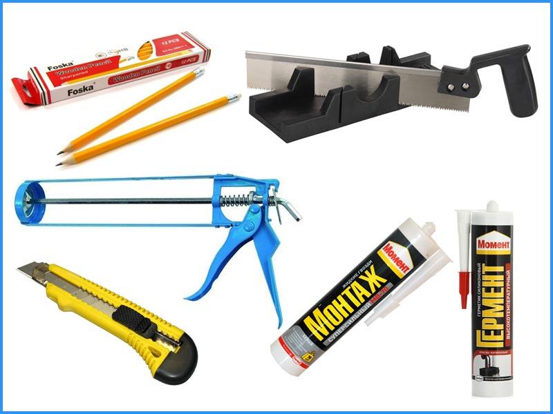 Инструменты и расходные материалы, необходимые для установки плинтусов из полиуретана