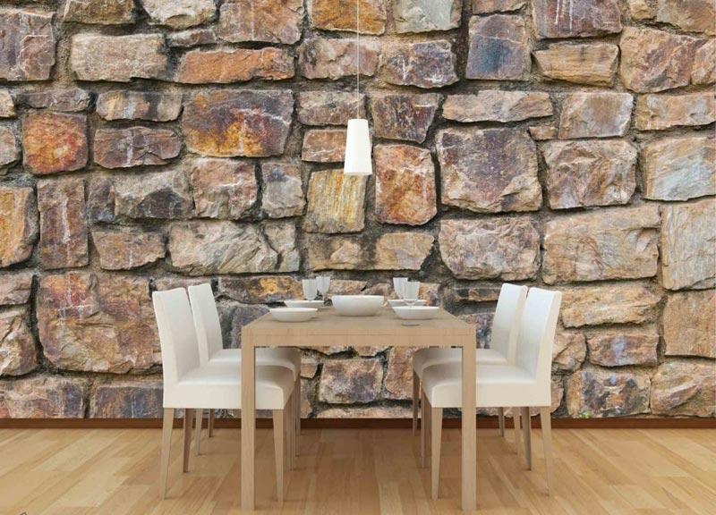 Обои под камень отличаются широким ассортиментом и доступной стоимостью