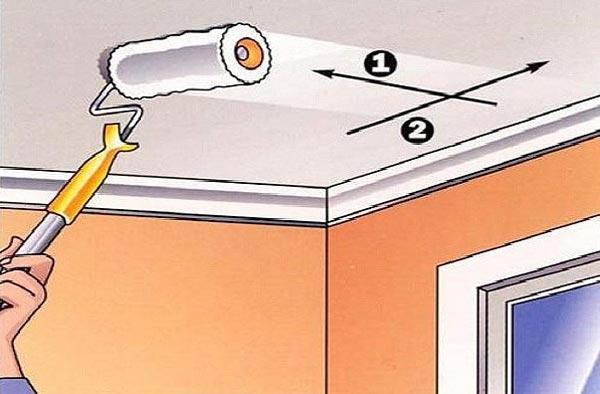 Первый слой краски наносят на потолок от источника дневного света, второй - перпендикулярно предыдущему